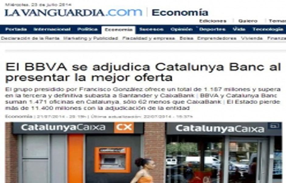El bbva se adjudica catalunya banc al presentar la mejor for Catalunya banc oficinas