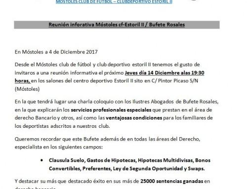 Próxima sesión informativa de Bufete Rosales en Móstoles (14/12/2017)