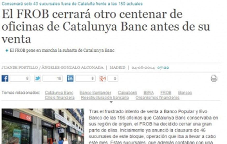 El frob cerrar otro centenar de oficinas de catalunya for Catalunya banc oficinas