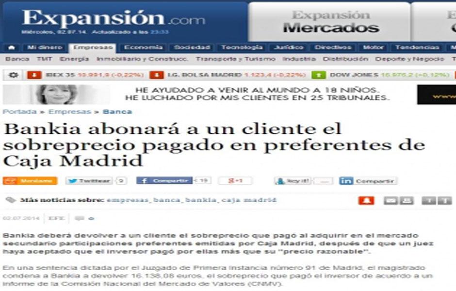 Bankia abonar a un cliente el sobreprecio pagado en preferentes de caja madrid bufete rosales - Caja espana oficina virtual clientes ...