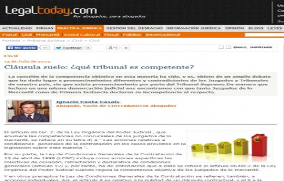 Cl usula suelo qu tribunal es competente bufete for Noticias clausula suelo