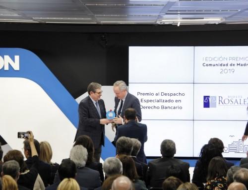 Bufete Rosales premiado como mejor despacho en derecho bancario de la Comunidad de Madrid